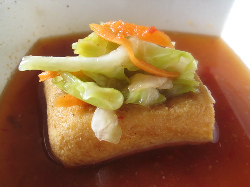 Stinky Tofu with pickled Cabbage and Carrots