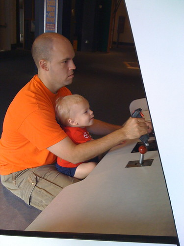 "Daddy and Eli ""Flying"" at McWane"