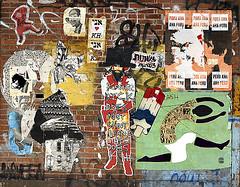 Billikid. KH. FDKL. Peru Ana. Ana Peru. Gaia. Judith Supine, Theory Propaganda,  and ...? Wheatpastes and Graf. Lower Manhattan. (Allan Ludwig) Tags: streetart graffiti kh gaia peruana judithsupine kh1 billikid streetartinnyc graffitiinnyc anaperu theorypropagandacampaign fdkl