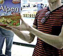 Moooooooooslie! Makes those days you forgot lunch bearable. Alpen is cheap and less molasses-coated than many mueslies on the market. That is why it wins with us.