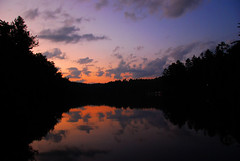 canoe at sunset (Mike the B) Tags: sunset lake reflection nc northcarolina canoe cascade abigfave