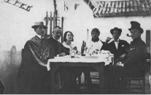 Pepín Bello, José Moreno Villa, María Luisa González, Luis Buñuel, Salvador Dalí y José María Hinojosa en Toledo (Venta de Aires) en 1924