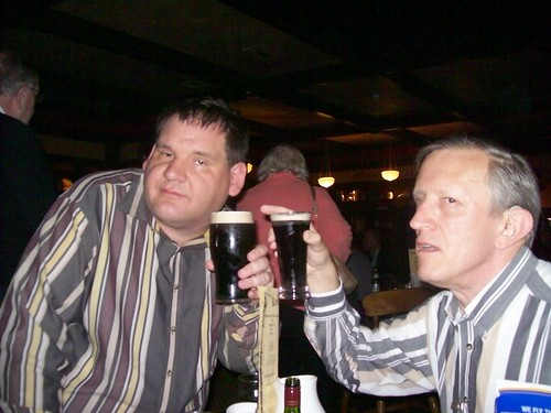 Ireland - pub time in Ennis Auburn Lodge - Bob Hilvers and David Bowers have a Guinness moment