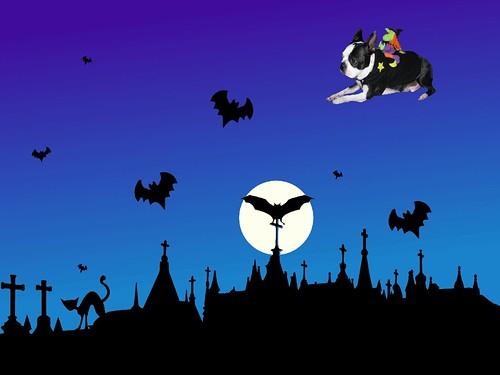 halloween-graveyard Tanner flying