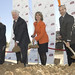 Chris Zimmerman, Jim Moran, Kathleen Matthews and Ken Finkelstein break ground at the site of the new Renaissance and Residence Inn by Marriott at Potomac Yards