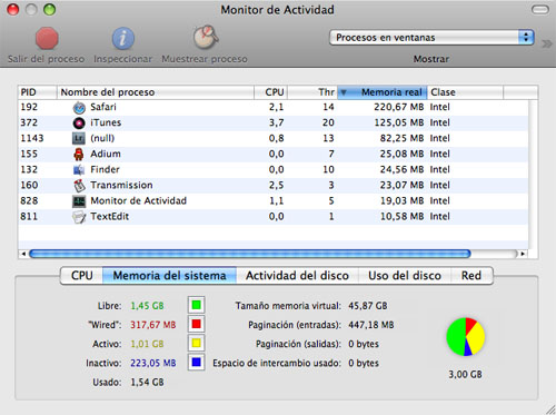 Captura de pantalla del Monitor de Actividad en Mac OS X 10.5 Leopard
