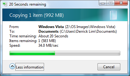 Transfer rate with a real file, in this case, an image of the Windows Vista WAIK