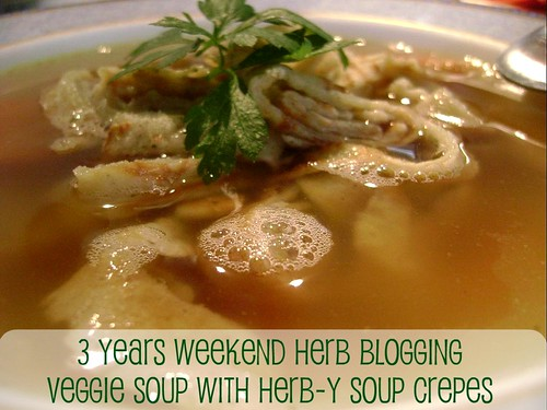 Soup with Herby soup crepes