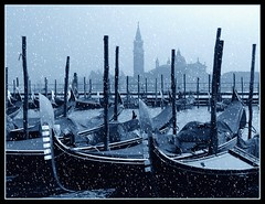 Winter afternoon in lagoon (Madiash) Tags: blue venice winter snow lagoon neve duotone laguna inverno venezia italians gondole rivadeglischiavoni digitalcameraclub mywinners abigfave platinumphoto fotocompetition fotocompetitionbronze lpwinter