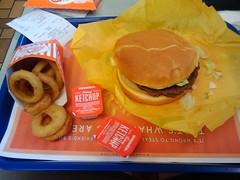 WHATABURGER #1 with cheese, mayo, onion rings, coke (Walker the Texas Ranger) Tags: ketchup onionrings whataburger g1gphonegoogle