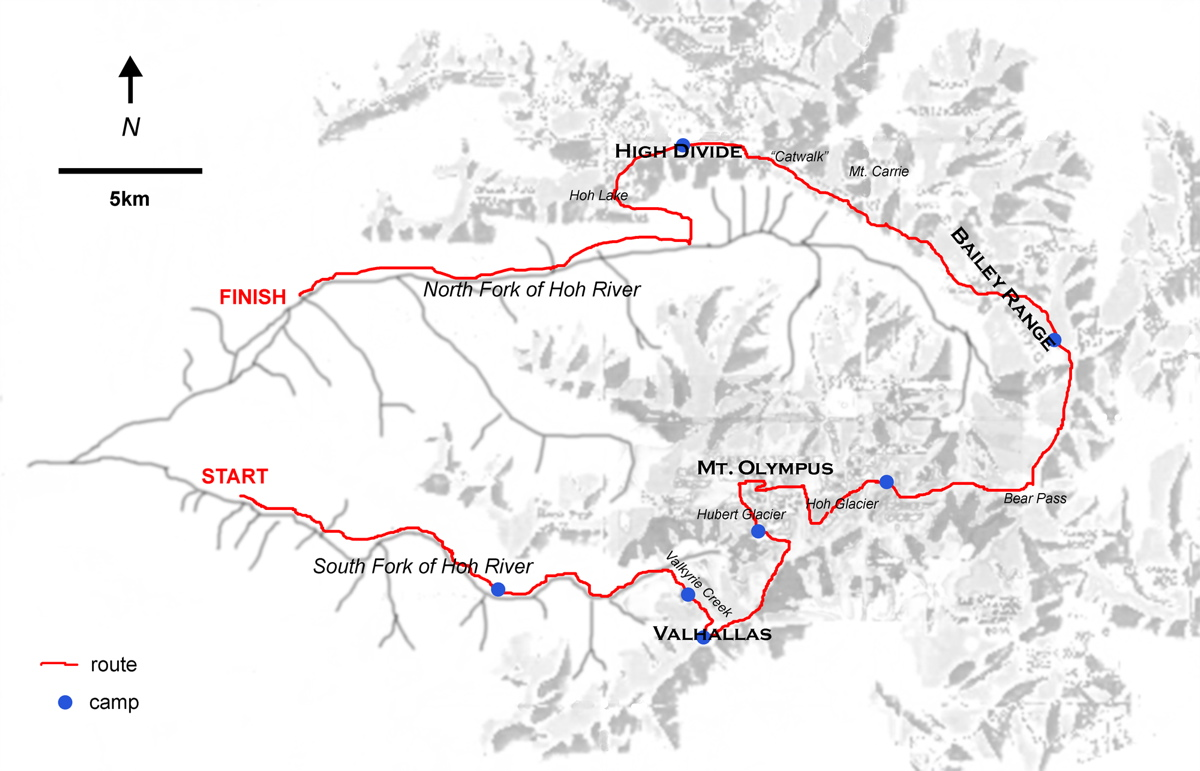 Olympics Traverse Valhallas Mt Olympus Bailey Range High - Olympics mountain range map of us