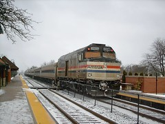 Northbound Amtrak Hiawatha train departing Glenview Illinois. January 2008.