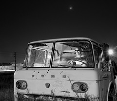 Driving the Oil Truck Into the Apocalypse  II (bitzcelt) Tags: longexposure selfportrait ford night truck nikon gas oil tanker fuel illbeback handheldflash nikkor18200mmvr sb800speedlight bitzcelt madmikebeyondchromedome bitzenator
