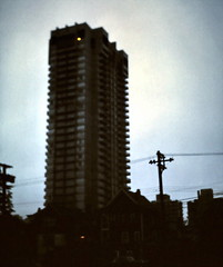 gm_10136 Denman Place morning, Vancouver 1971 (CanadaGood) Tags: morning blue canada color colour building vancouver analog dawn 1971 bc britishcolumbia slidefilm englishbay kodachrome seventies westend denmanstreet canadagood slidecube