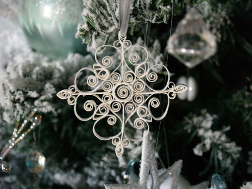 Snowflake Ornament on tree
