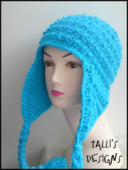 Hori Bobbles Earflap Hat in Sky Blue
