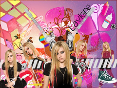 Avril Lavigne (my special K!) Tags: verde blanco colors photoshop rojo photoshoot negro rosa colores clothes converse bitch aerosol avril naranja cubo lavigne guitarras parlantes pshico