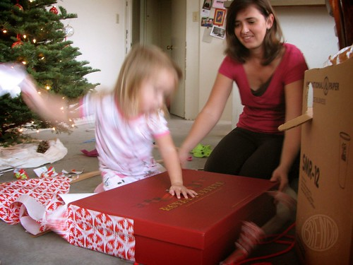 a blur of unwrapping