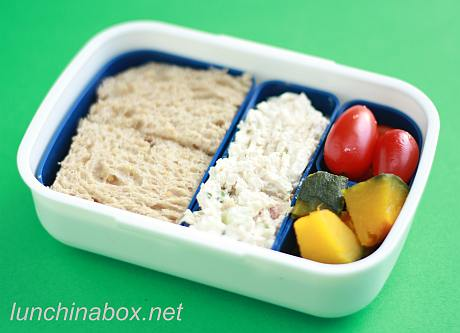 Deconstructed sandwich bento lunch for preschooler