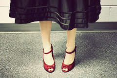 day 30 of 365: amy wedding shoes (roddyjen) Tags: wedding red black feet shoe shoes pumps dress leg bridesmaid strap heels