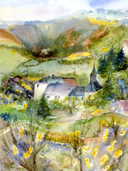 Art: watercolour:...a day in May...Lellingen, un jour en mai, Luxembourg (Nadia Minic) Tags: houses summer art watercolor painting photo europe artist gallery foto dorf village maisons sommer kunst aquarelle kultur ardennen ardennes culture galerie exhibition mai exposition painter watercolour luxembourg artcontemporain oeuvre couleur ginster interessantes atelier huser posie acuarelas aquarell beauxarts maler harmonie gent acquarello wasserfarben pittrice artistepeintre aquarelliste watercolourpainter nadiaminic aquarellistin aquarellmalerin luxembourgpainting peintureluxembourg