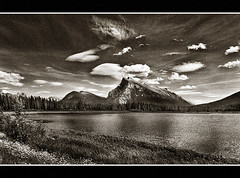 Rock Cloud and Water (Glenbourne At Home) Tags: blackandwhite canada mountains monochrome sepia rockies grain highcontrast alberta banff uc lightandshade bowvalley mywinners banffnationalparks aplusphoto summer08 silverefexpro digitialnoise