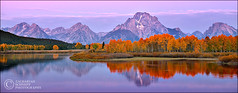 Oxbow Sunrise (Zack Schnepf) Tags: autumn trees usa mountain mountains fall sunrise river landscape bend mount aspens wyoming zack tetons moran oxbow schnepf