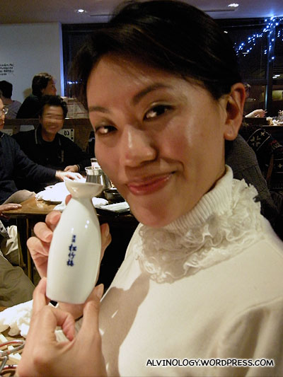 Rachel and her small bottle of sake