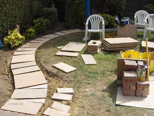 Indian Sandstone Patio and Lawn Image 11