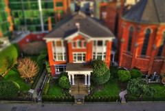 Miniature House (Tilt Shift HDR) (Brandon Godfrey) Tags: world pictures street city urban house canada landscape photography scenery downtown bc view photos pics earth britishcolumbia shift scene victoria vancouverisland pacificnorthwest northamerica scape tilt hdr highdynamicrange standrewscathedral photomatix