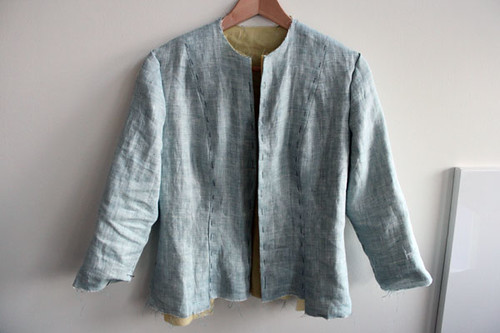 linen jacket in progress