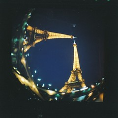 Eiffel Tower (Uka wonderland) Tags: light paris night lomography fisheye diana f
