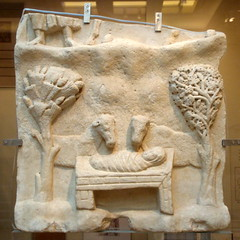Naxian Nativity (diffendale) Tags: trees sculpture baby stone museum greek carved infant cows roman jesus athens carving clothes relief greece manger museo marble nativity lateantique naxos cradle swaddling drilled   naxian 4thcce 5thcce  drillwork