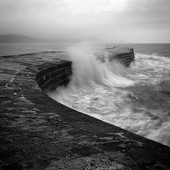 The Cobb IV (Adam Clutterbuck) Tags: ocean uk greatbritain sea england blackandwhite bw white seascape black monochrome square landscape bay coast pier blackwhite waves unitedkingdom britain squares wave bn coastal shore elements dorset gb cobb splash bandw sq surge oe lymeregis lyme regis breakwater thecobb greengage adamclutterbuck sqbw bwsq showinrecentset openedition