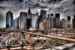 NYC Skyline from Brooklyn Bridge (sunsurfr) Tags: city nyc newyorkcity urban newyork building skyline brooklyn clouds buildings cityscape structure brooklynbridge d200 hdr photomatix sunsurfr