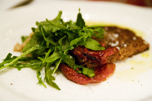 """Pig's Foot """"Milanese"""" with Rice Beans and Arugula"""