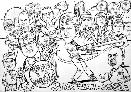 Caricatures VISA Yankees baseball ink
