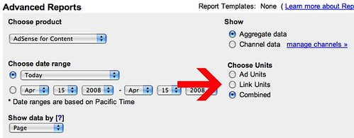 Choose Units on AdSense Reports