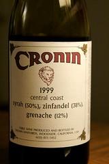 1999 Cronin Syrah (50%) Zinfandel (38%) Grenache (12%) Central Coast