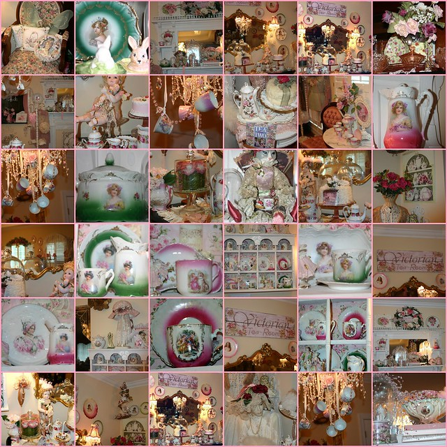 china pink roses mannequin vintage dresden dolls tea lace victorian romance chandelier figurines teacups teapots tearoom collector pinkroses dressforms shabbychic biscuitjar victorianhats portraitplates romanticvignettes countyvictorian victoriantearoomsign chicnotshabby