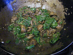 mushrooms with cumin, coriander and spinach