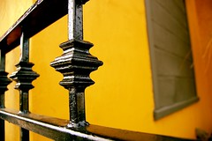 Iron Patio Fence (Little M~) Tags: yellow spring pov wroughtiron patio richmondhill childphotographer childrenphotographer dinnerwithdaddyandsandra