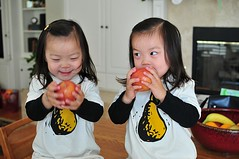 Cute little fruit eaters in their new pear/pair t-shirts