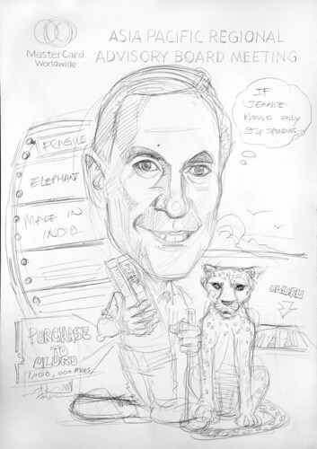 Caricature of Heuer Mastercard pencil sketch