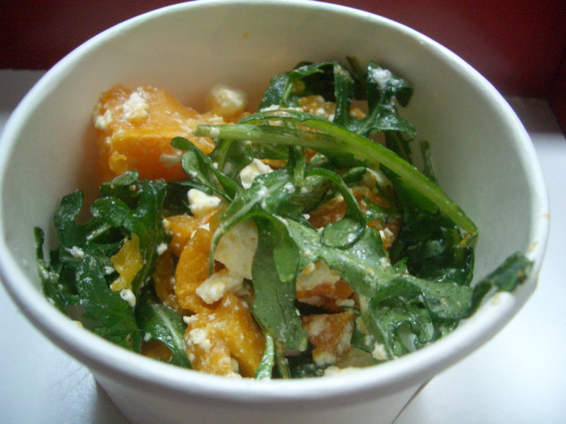 Pumpkin and feta salad with yuzu dressing