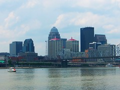 Louisville Kentucky (Theophilus Photography) Tags: city bridge sky building water skyline clouds buildings river landscape boat cityscape kentucky louisville ohioriver louisvillekentucky belleoflouisville justoneruleonlylandskyseascapes
