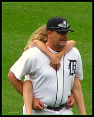 Piggyback (lorainedicerbo) Tags: girl piggybackride kid child baseball detroit tigers jonesy pitcher piggyback 59 closer comericapark detroittigers kidsday toddjones baseballinthed