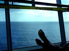 Feet at Sea (Rennett Stowe) Tags: cruise feet foot caution cruiseship bluefeet cautiontape putyourfeetup bluesea wifesfeet crossedfeet wifesfoot feetsilouette feetsilouetted feetframed feetatsea relaxingatsea putyourfeetupandrelax