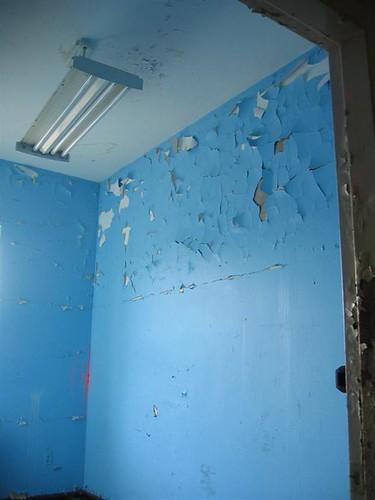 Peeling sky blue paint