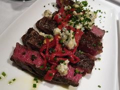 Steak with peppers and cheese
